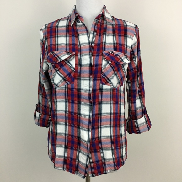 9df2be3b49524 Sam Edelman Red Blue White Plaid Shirt Split Back.  M 5afc6f6dc9fcdf00f2e9c326